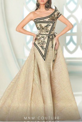 Beige One Shoulder Cap Sleeve Drape Dress 2530