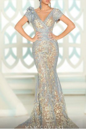 Fouad Sarkis Couture Blue Floral Embroidered Mermaid Gown  2521