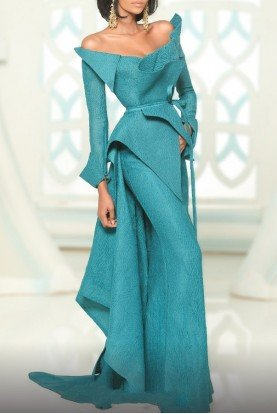 Petrol Off Shoulder Origami Mermaid Gown 2540