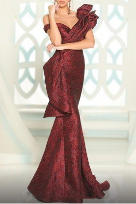Burgundy Cascading Ruffle Drape Mermaid Gown 2519