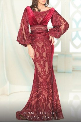 Burgundy Lace Ruched  Mermaid Gown 2518