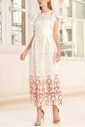 White  Flutter Sleeve Lace Midi Dress 445723