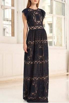 Black Flutter Sleeve Embroidered Gown  445750