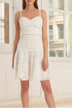 White Sleeveless Lace Fit and Flare Dress 445746
