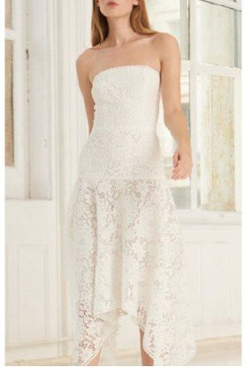 White Strapless Lace Midi Dress 445745