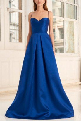 Blue Sleeveless Mikado Gown 445732