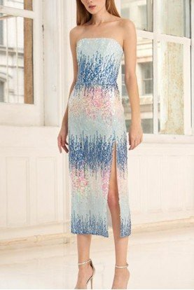 Blue Strapless Ombre Sequined Midi Dress 445708