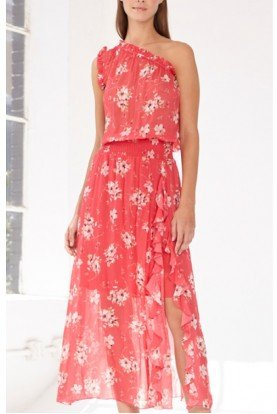 Pink Sleeveless Floral Midi Tea Dress 445657