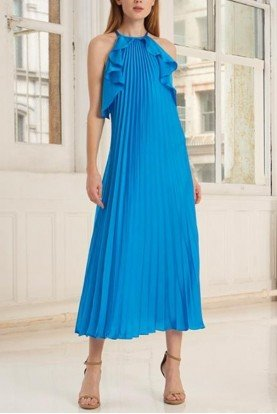 Blue Sleeveless Pleated Midi Dress 445756