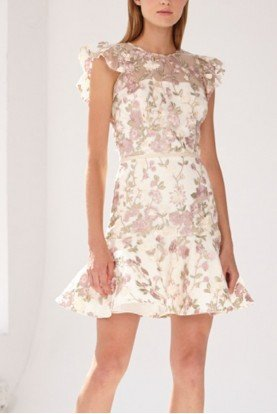 ML Monique Lhuillier Gold Short Sleeve Floral Mini Dress 445592