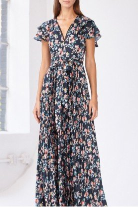 ML Monique Lhuillier Blue Floral Ruffle Sleeve Gown 445621