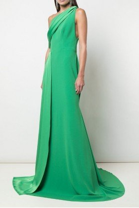 Green Hollis One Shoulder Satin Crepe Gown D531