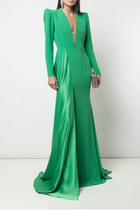 Alex Perry  Green Lindy Long Sleeve Satin Crepe Gown D530