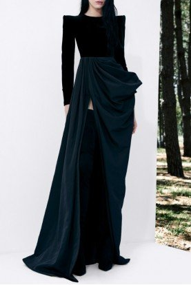 Black Chandler Draped Taffeta and Velvet Gown D516