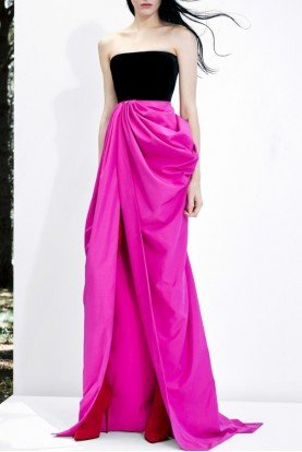 Pink Jude Strapless Draped Taffeta Gown D514