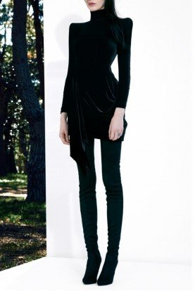 Black Long Sleeve Velvet Draped Mini Dress D502