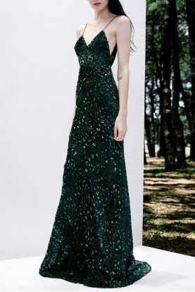 Green Jenson Sleeveless Leopard Devore Gown D536
