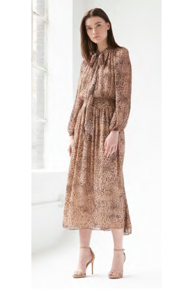 Brown Long Sleeve Midi Tea Dress  445766