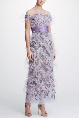 Purple Off Shoulder Tulle Ankle Length Gown M26811