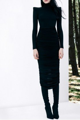 Fallon Ruched Jersey Long Sleeve Black Midi Dress