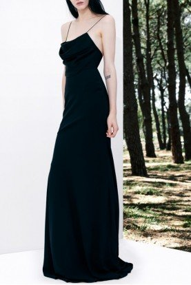 Clay Sleeveless Satin Crepe Black Evening Gown
