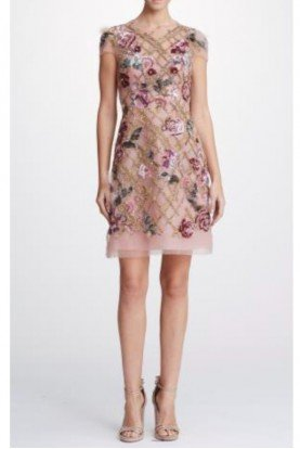 Marchesa Embroidered Tulle Mini Cocktail Dress in Blush