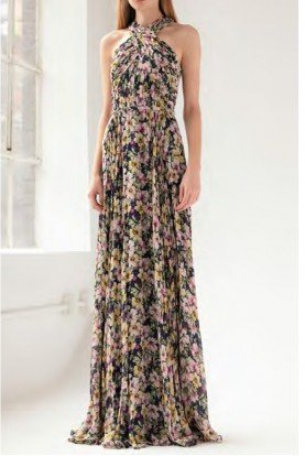 Pleated Halter Neck Gown in Navy Floral Motif