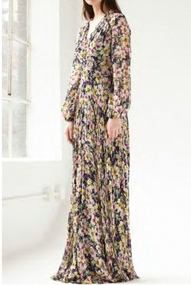 ML Monique Lhuillier Long Sleeve Pleated Floral Dress in Navy 445856