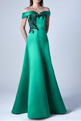 Satin Off Shoulder Gown in Green