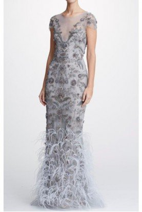 Dove Grey Tulle Column Gown w Feathers Applique
