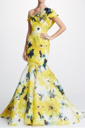 Yellow Floral Off Shoulder Gown M26828