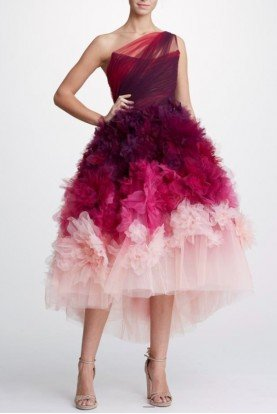 Marchesa Ombre Organza One Shoulder Midi Tea Dress
