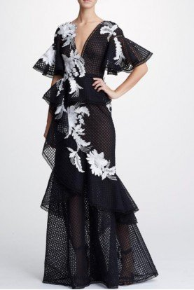 Marchesa Black Plunging V Neck Embroidered Gown
