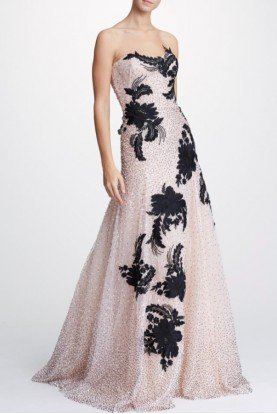 Embellished Strapless Tulle Gown in Blush