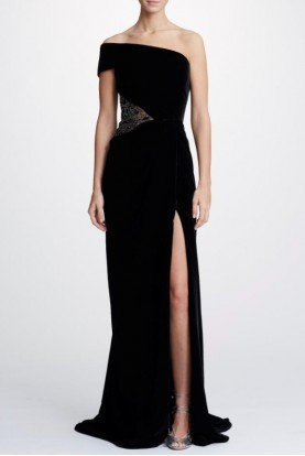 Black One Shoulder Velvet Gown M26804
