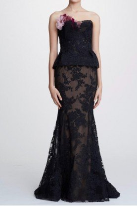 Marchesa Black Strapless Corded Lace Gown