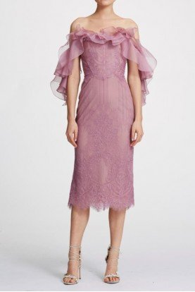 Off Shoulder Lace Organza Ruffle Lilac Midi Dress