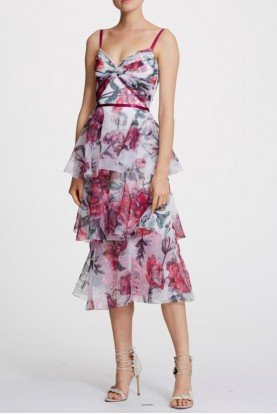Sleeveless Floral Organza Midi Dress N30G0867