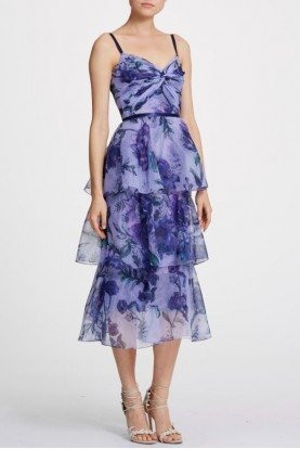 Sleeveless Floral Organza Midi Dress in Lilac