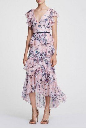 Blush Floral Chiffon Midi Dress N29G0847