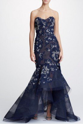 Strapless Fit to Flare Hi Lo Evening Gown M26817