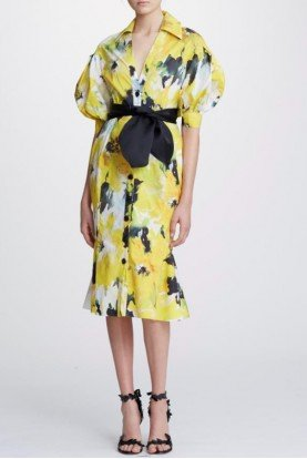 Marchesa Daffodil Floral Printed Cotton Shirt Dress