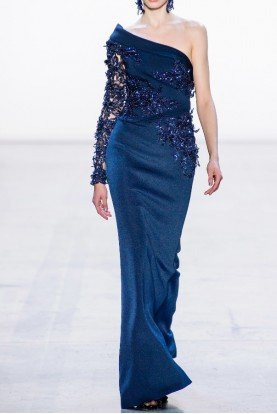 Beaded One Shoulder Sapphire Evening Gown CG3176