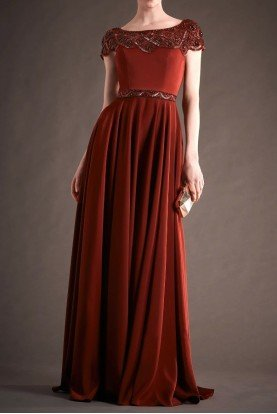 Red Short Sleeve Beaded Stretch Faille Gown