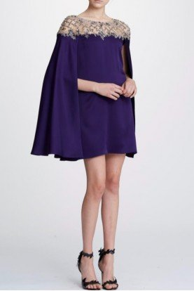 Cape Sleeve Mini Cocktail Dress