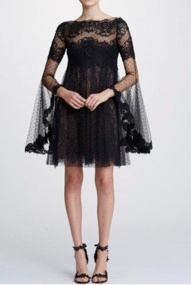 M26909 Black Lace Long Sleeve Mini Cocktail Dress