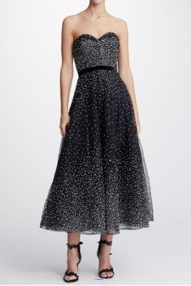 Marchesa Sequin Embroidered Strapless Black Midi Tea Dress