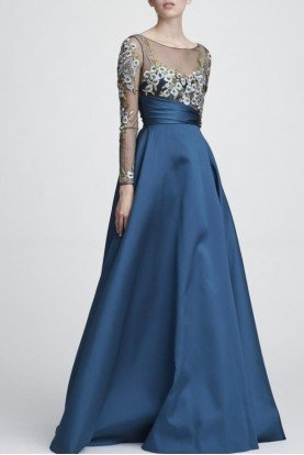 N28G0743 Long Sleeve Mikado Ball Gown in Teal