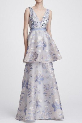 N28G0732 Light Blue Sleeveless Floral Tiered Gown