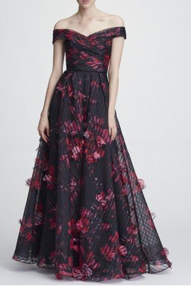 N28G0738 Off the Shoulder Organza Evening Gown